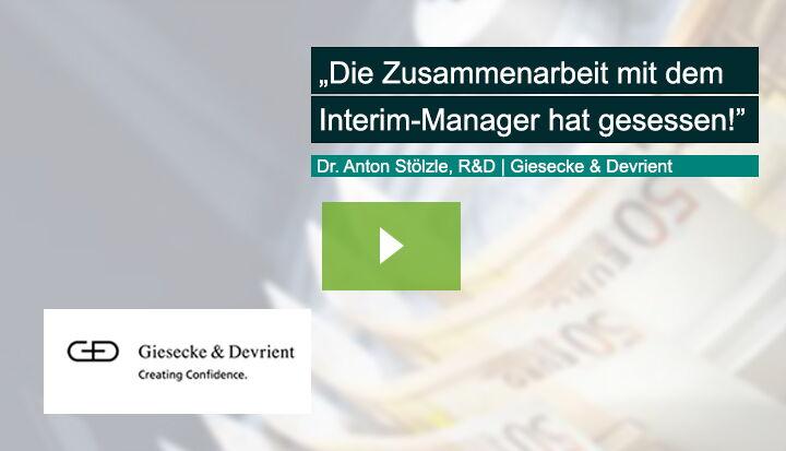 Dr. Anton Stölzle, damalig Group Vice President Research & Development, Giesecke & Devrient